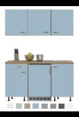 Keukenblok 150 Karat blauw incl koelkast en kookplaat en wandkasten KIT-915
