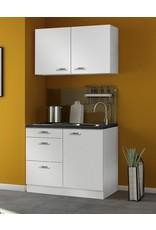 minikeuken 100cm wit hoogglans zonder bovenkasten en e-kookplaat KIT-11005