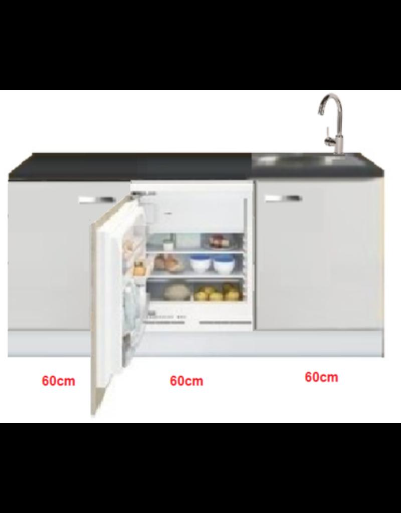 Keukenblok wit hoogglans 180 cm incl inbouw koelkast KIT-519