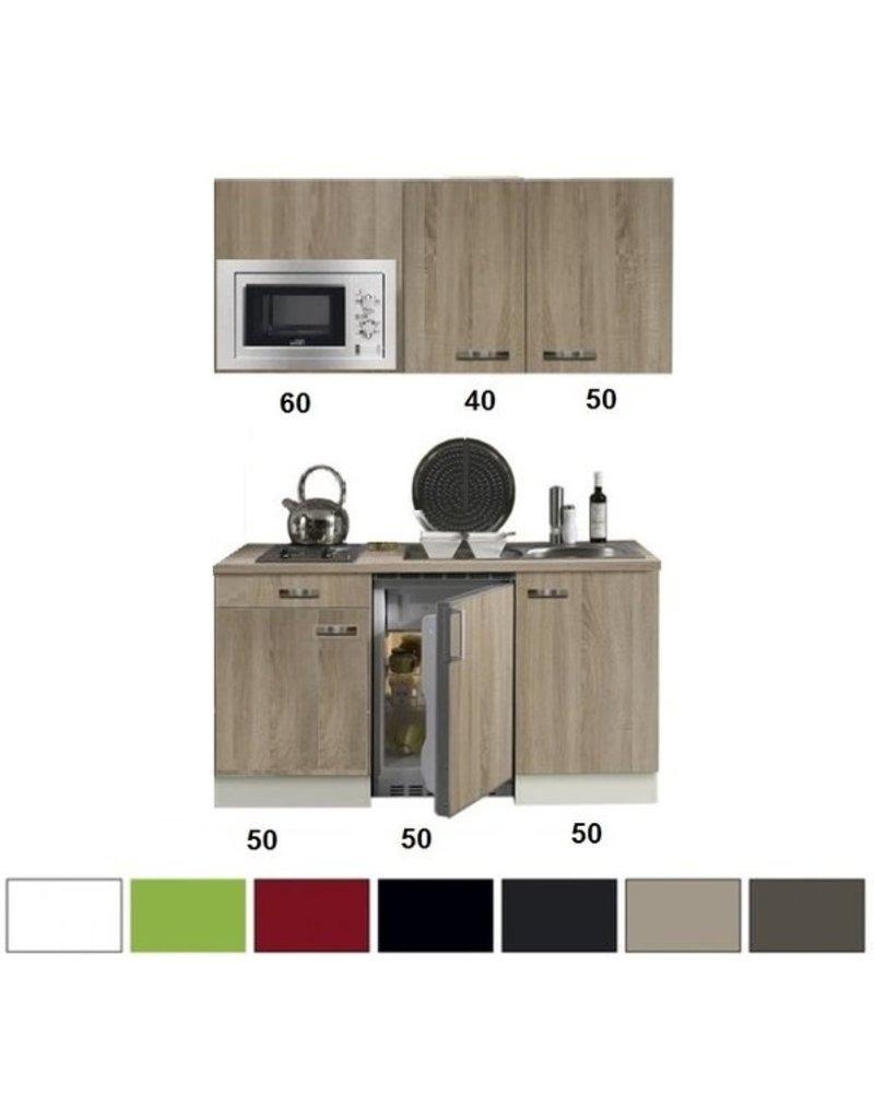 Keukenblok 150 Met Inbouw Koelkast Magnetron En 2 Pit Elektrisch Kookplaat Kit 332