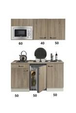 keukenblok 150 met inbouw koelkast, magnetron en 2-pit elektrisch kookplaat KIT-332