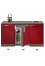 Kitchenette Rood Hoogglans met koelkast en kookplaat 150cm KIT-400