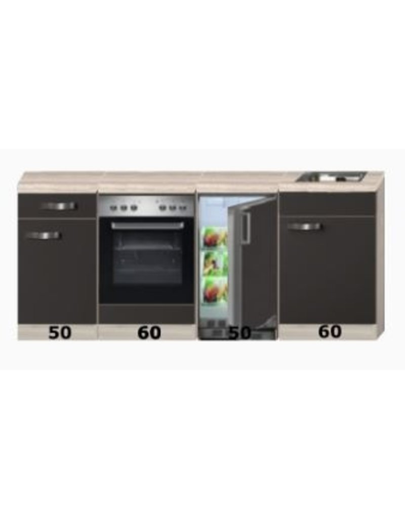 Kitchenette 220cm incl inbouw oven en onderbouw koelkast KIT-4682