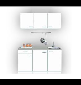 Keukenblok 150cm breed x 50cm diep wit met rvs spoelbak KIT-0010