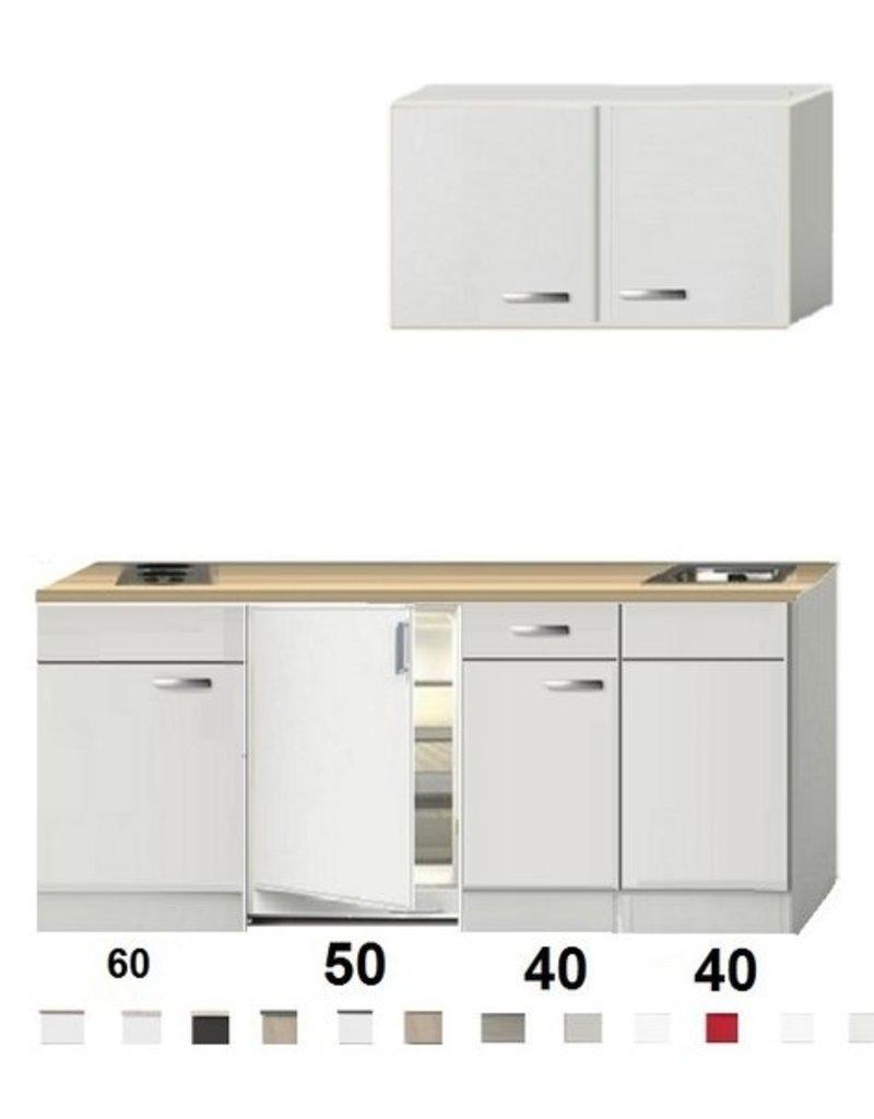 Kitchenette 190cm Wit Hoogglans incl. 2-pit kookplaat, koelkast zonder afzuigkap HRF-4602