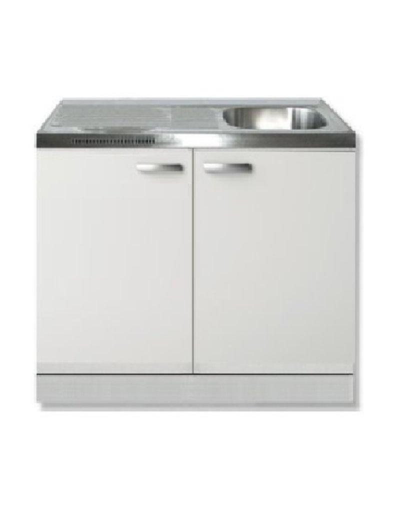 keukenblok wit hoogglans 100cm met wandkast KIT-552
