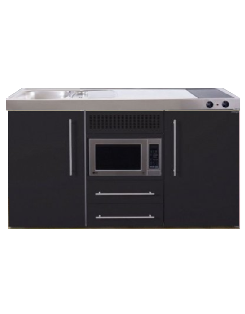 MPM 150 Zwart mat met koelkast en magnetron KIT-956