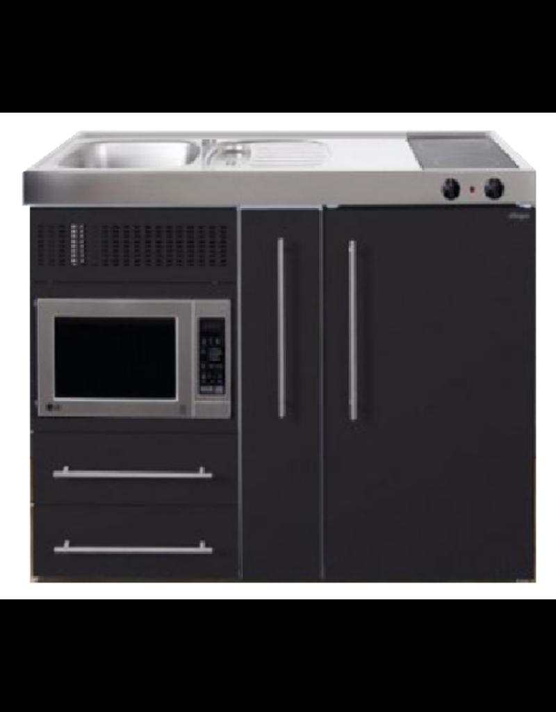 MPM 120 A Zwart mat met koelkast, apothekerskast en magnetron KIT-9546