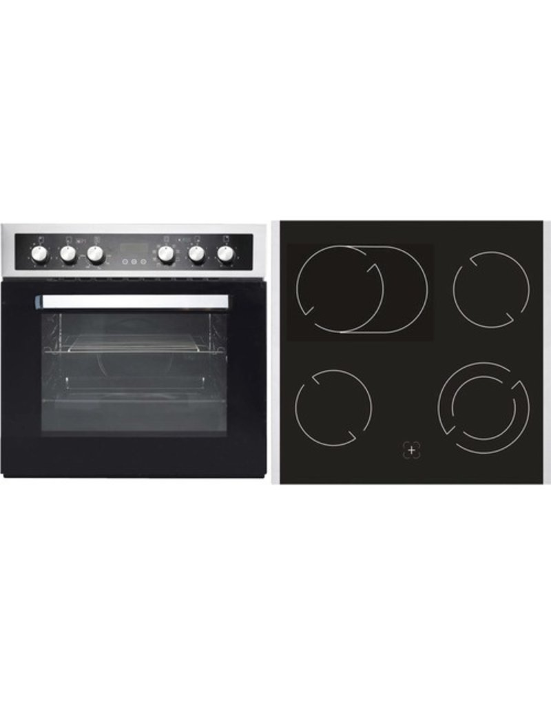 3-in-1 Keukenblok 180 x 60 cm incl. oven + kookplaat + spoelbak en wandkasten KIT-289