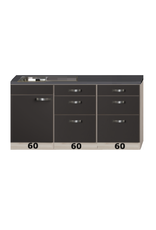 keukenblok antraciet 180cm met houten werkblad en laden kasten KIT-545