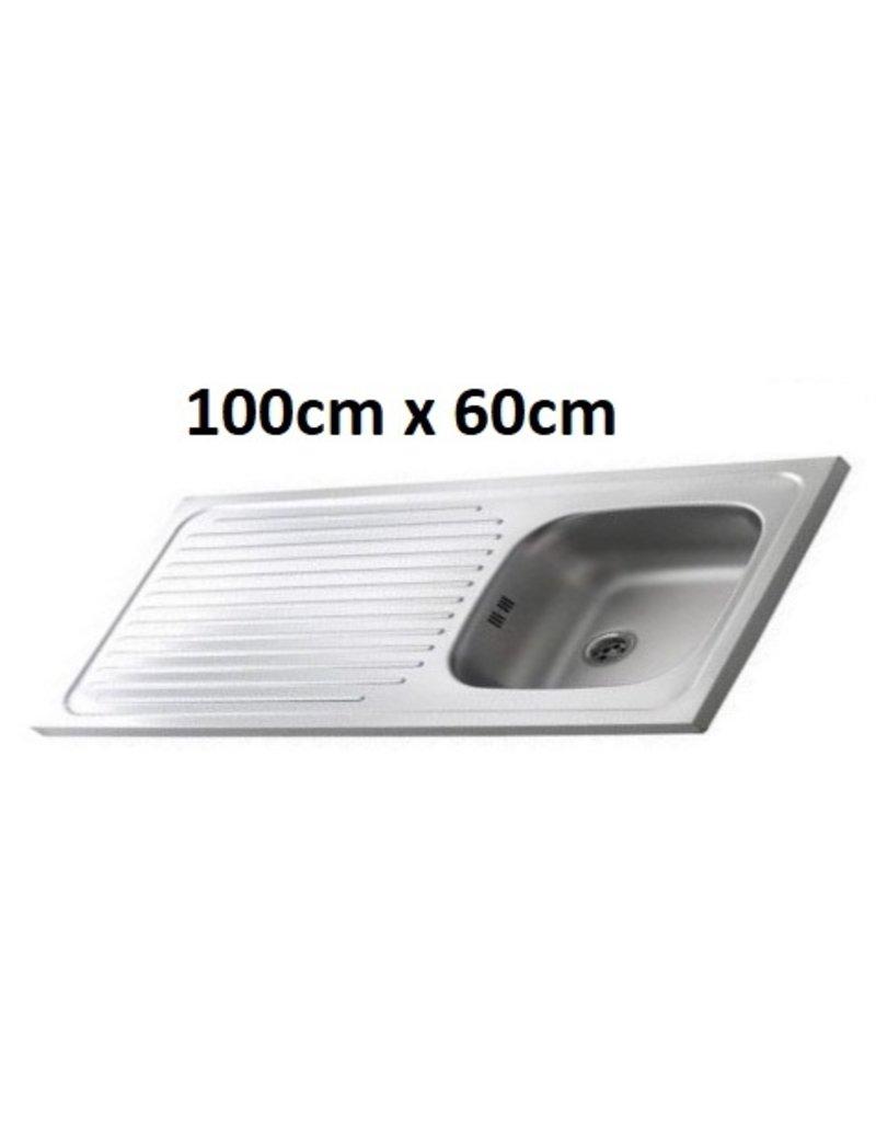 Keukenblok Cream met een la, RVS aanrecht 100cm x 60cm OPTI-65