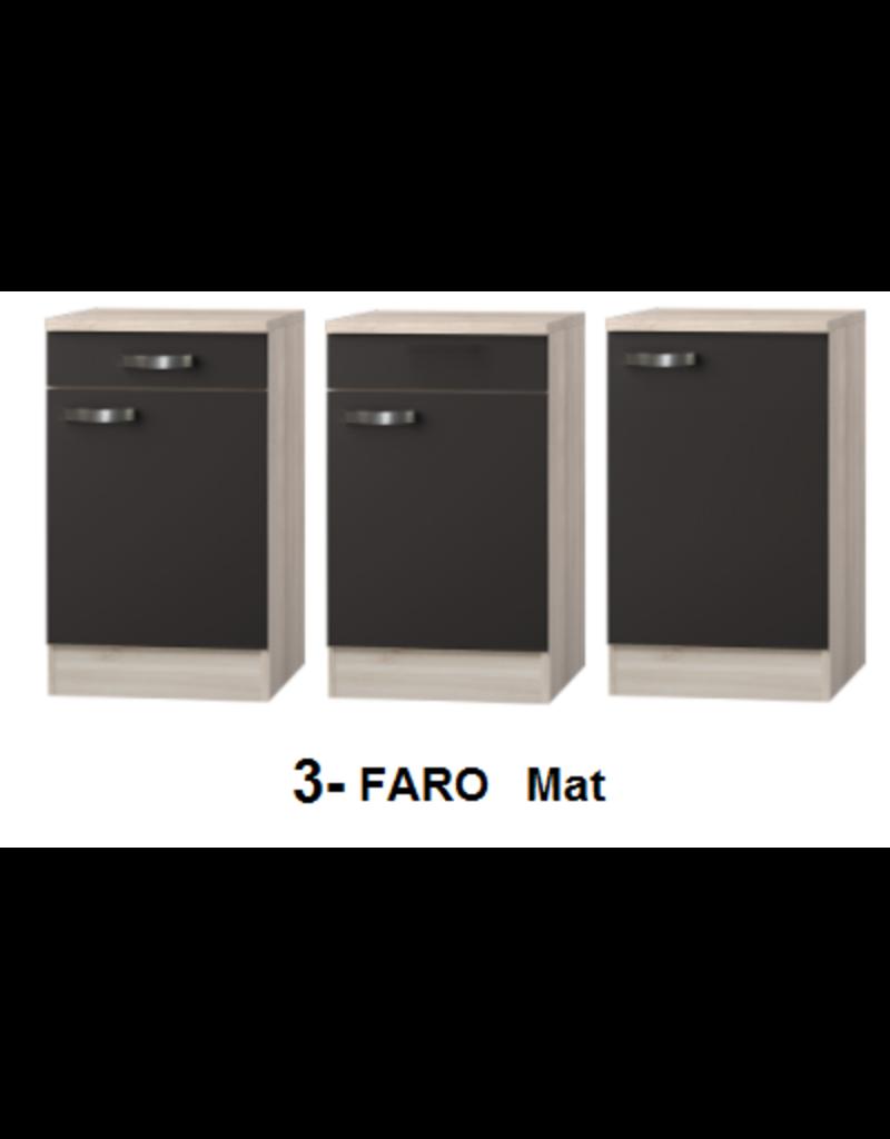 Kitchenette Faro Antraciet 200cm met koelkast KIT-586