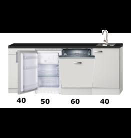 Kitchenette 190cm wit hoogglans met vaatwasser en koelkast KIT-448