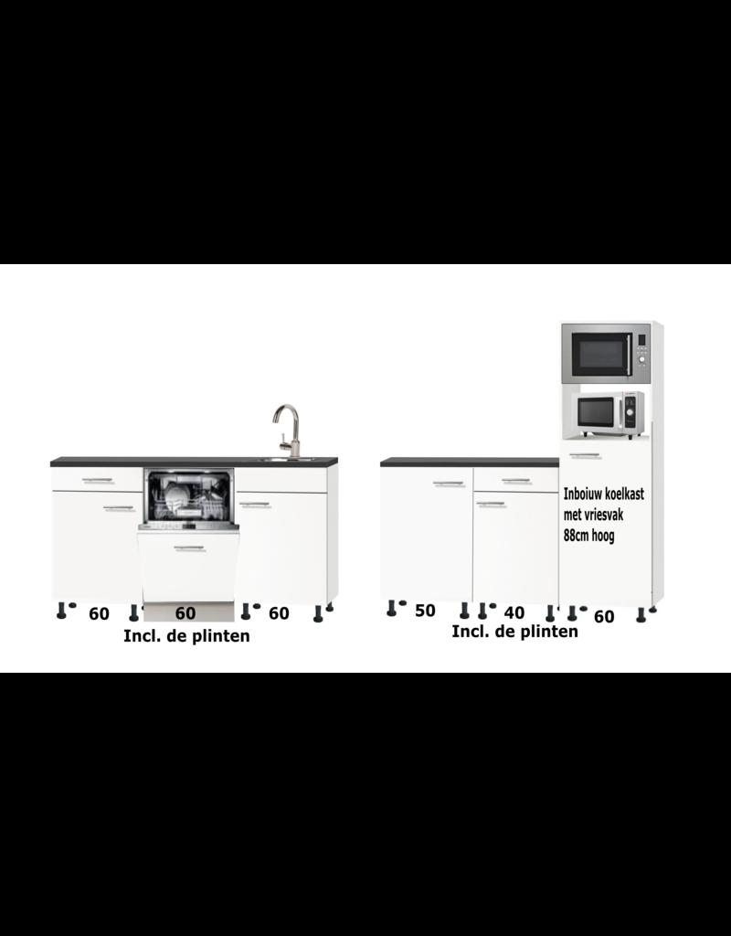 Kitchenette 180cm + 150cm met koelkast, vaatwasser en twee magnetrons RAI-0030