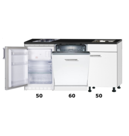Kitchenette 160cm wit hoogglans met vaatwasser en koelkast en kookplaat KIT-42