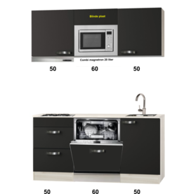 Keukenblok 160 cm  incl afzuigkap, vaatwasser en combi magnetron KIT-582