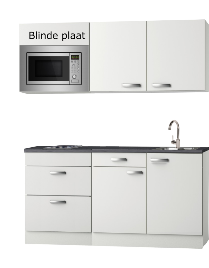 Kitchenette  wit Hoogglans 180cm met magnetron KIT-0115