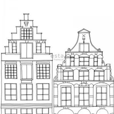 Esta for kids Esta Home Little Bandits PhotowallXL Getekende Amsterdamse Grachtenhuisjes 158834