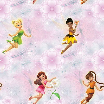 Dutch Wallcoverings Dutch Disney Fairies pink flowers behang WPD 9736
