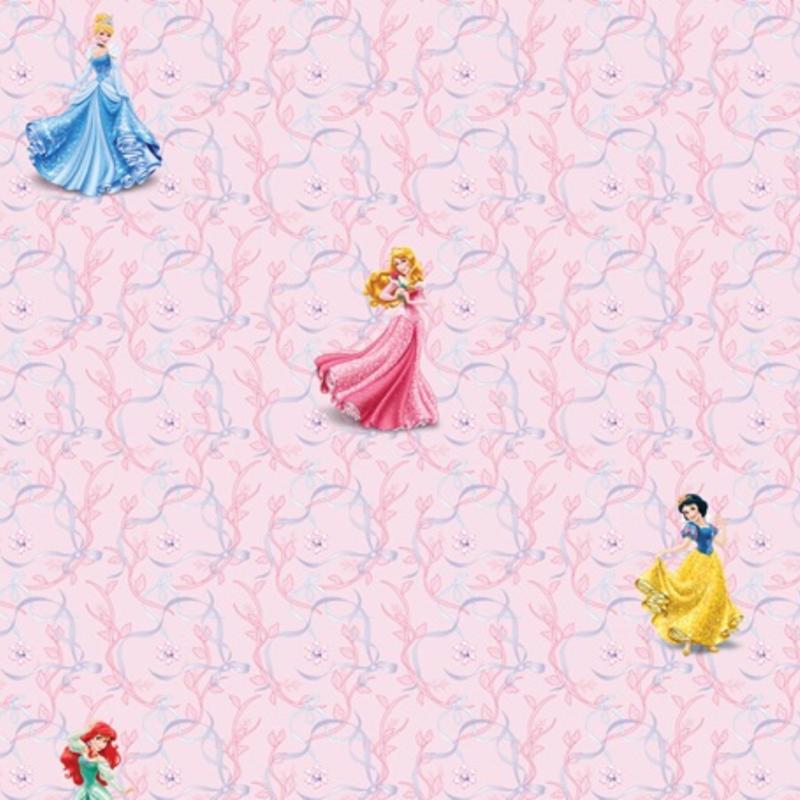 Dutch Wallcoverings Dutch Disney Princess pink background behang WPD 9734