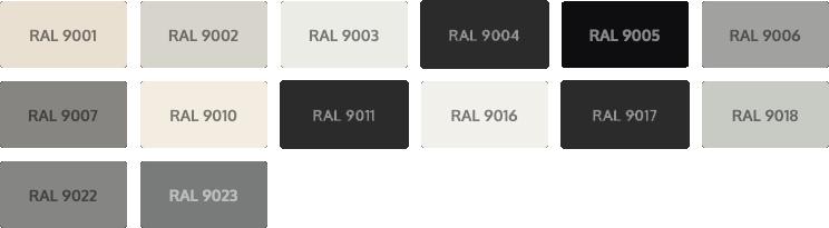 RAL Classic kleuren - wit en zwart