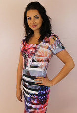 JOSEPH RIBKOFF Floral Pattern Striped Dress With Cut Out Shoulders