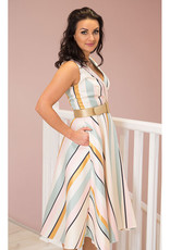 KATE COOPER Multi Coloured Stripe Dress With Belt