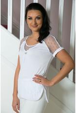 Elisa Cavaletti White Top with Sheer Short Sleeve