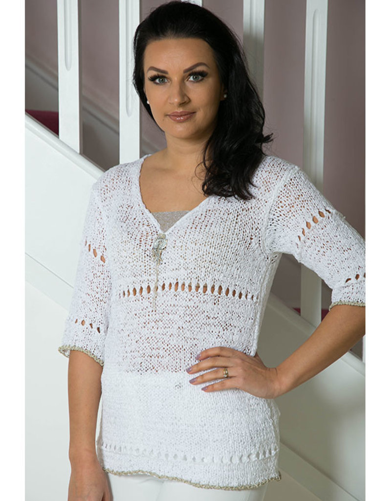 Elisa Cavaletti White Knit Jumper With Parrot Brooch
