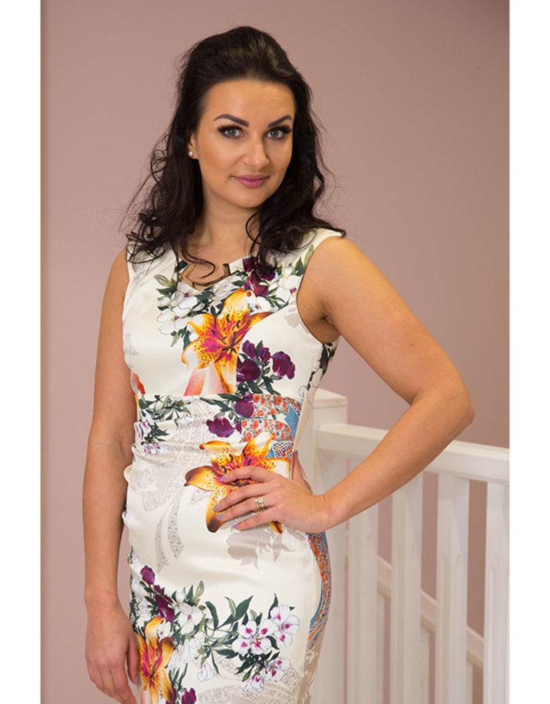 JOSEPH RIBKOFF Floral Pattern Multi Coloured Sleeveless Dress