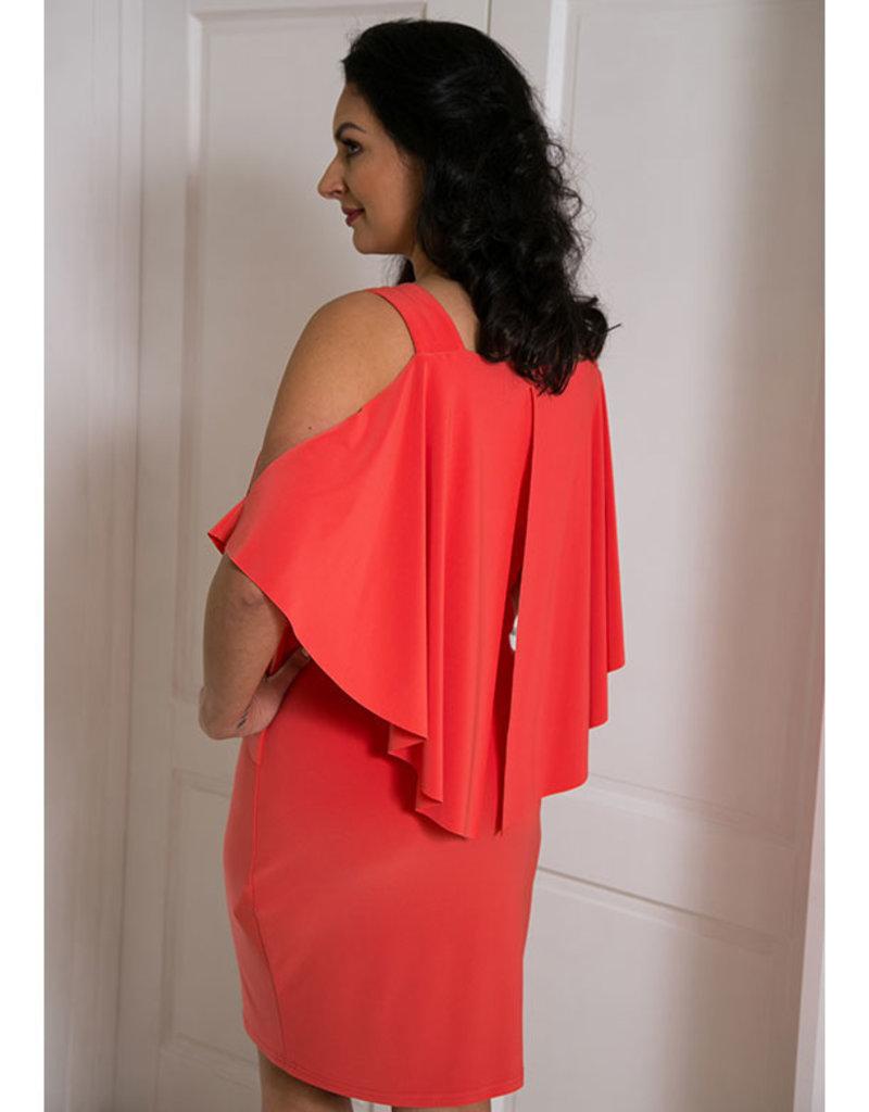 JOSEPH RIBKOFF Dress With Overlay Cut At Back