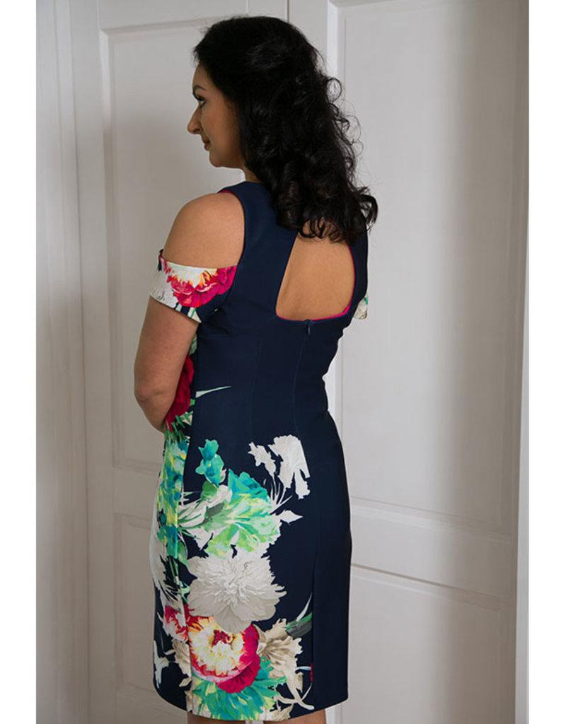 FRANK LYMAN Floral Cold Shoulder Dress