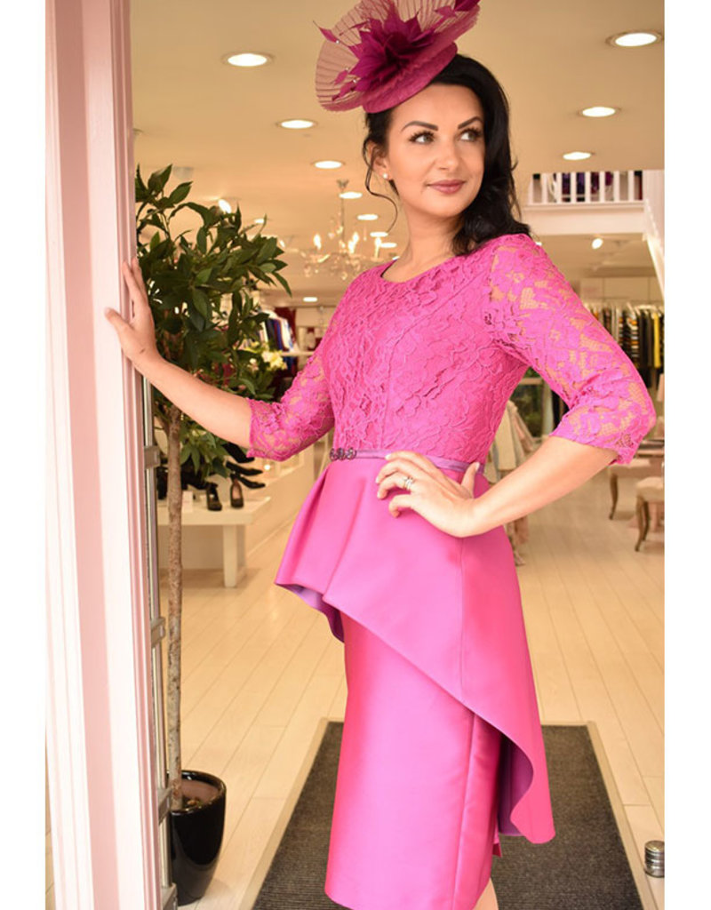 Gabriella Sanchez Peplum Dress With Lace Sleeve