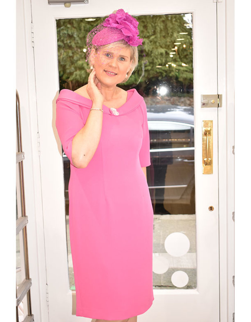 Carmen Melero Valerie Pink Dress With Boat Neck