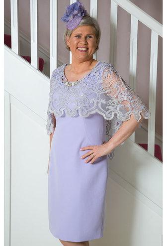 Carla Ruiz Dress With Lace Cape