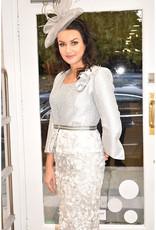 Luis Civit Two Piece Peplum Jacket & Dress With Floral Lace Bottom