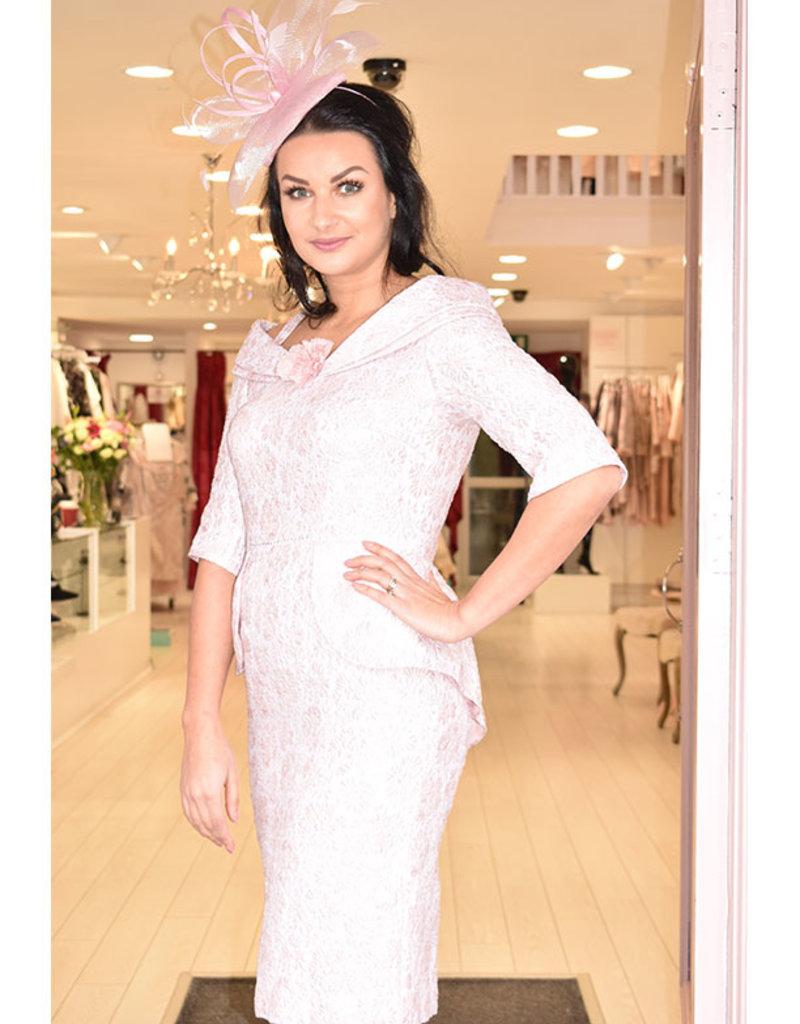 Carmen Melero Floral Textured Dress With Peplum