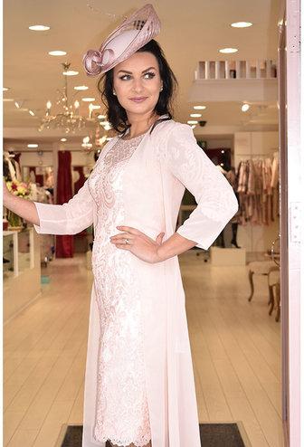 Veni Infantino Lace & Chiffon Dress & Coat
