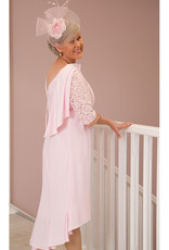 Gabriella Sanchez Long Dress with Lace Sleeve/Cape