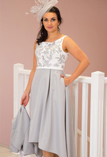 Couture Club Long Silver Dress with Jacket & Lace Bodice