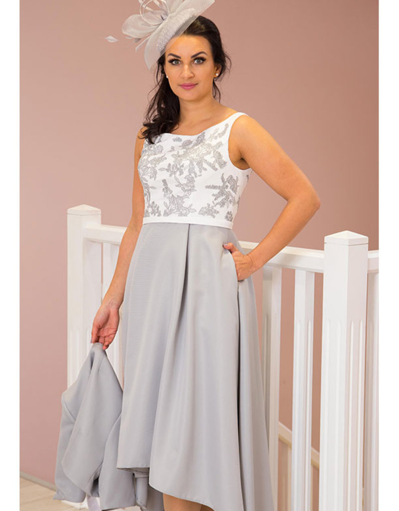 Long Silver Dress with Jacket & Lace Bodice