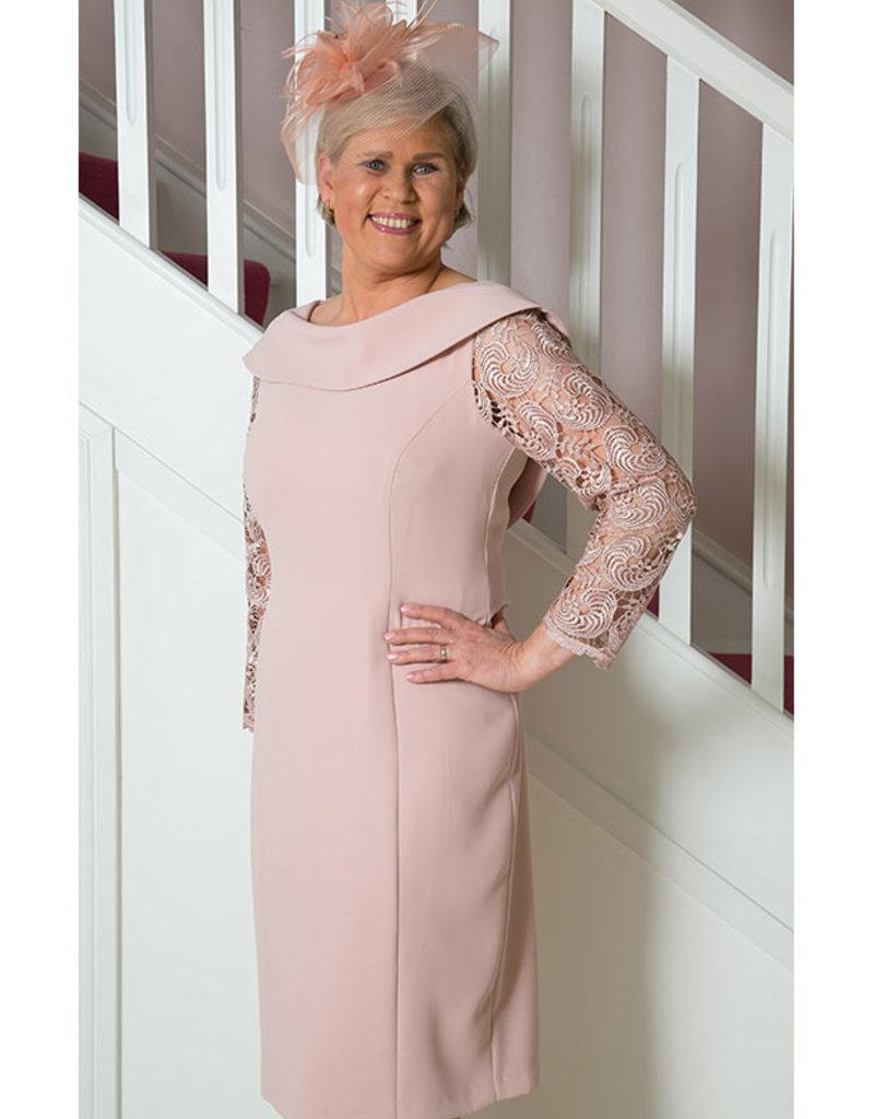 Cassandra Blush Dress With Lace Sleeve