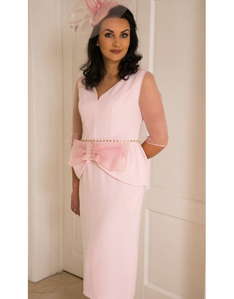 Gabriella Sanchez Dress With Sheer Sleeves & Middle Bow