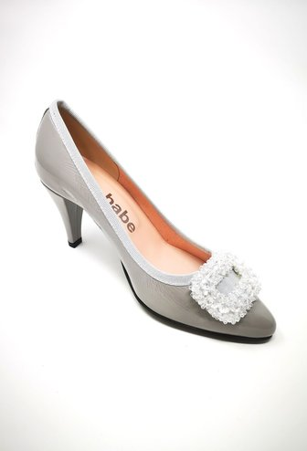 LA BABE Patent High Heel With Sequin Detail On Toe
