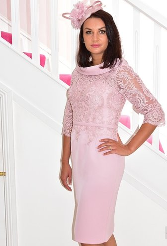 Invitations by Veni Cowl Neck Lace Dress