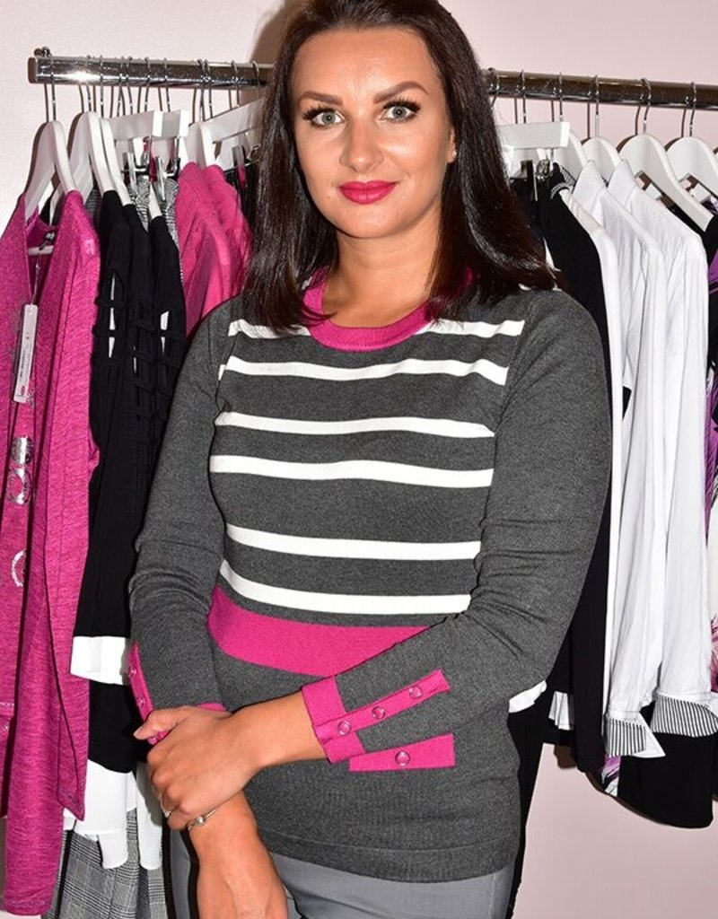 MARBLE Fuschia Striped Jumper With Pocket Effect