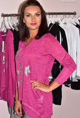 MARBLE Purple & Silver Star Printed 2 Piece Top