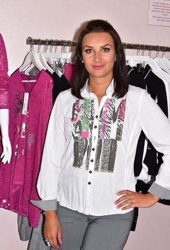 JUST WHITE White Patterned Blouse With Sequinned Detail