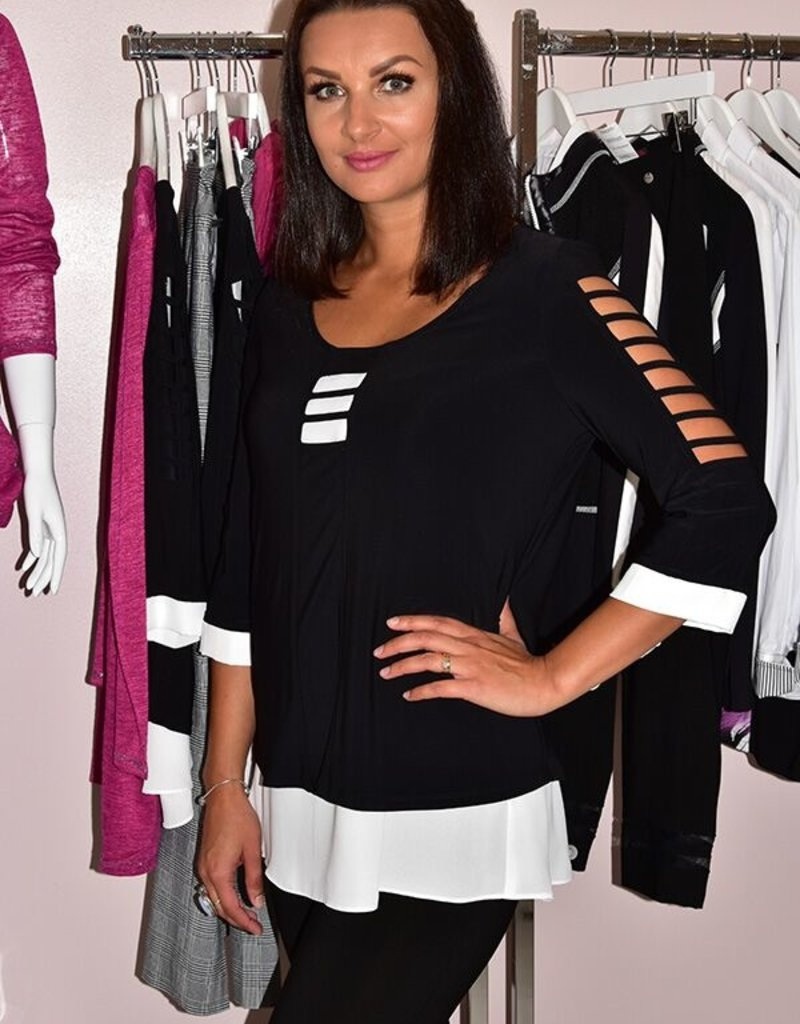 JOSEPH RIBKOFF Black & White Tunic With Cut Out Sleeves