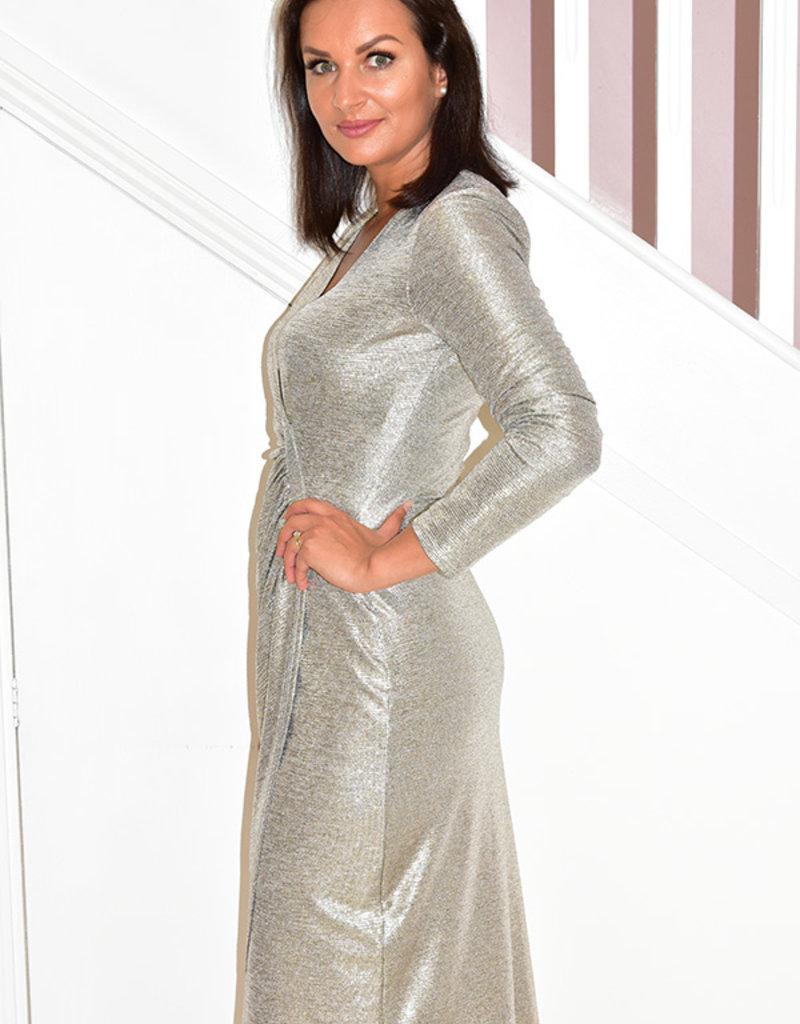 JOSEPH RIBKOFF V Neck Shiny Effect Dress